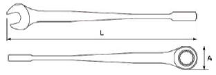 Schemat klucza płasko oczkowego SATA XL X-BEAM z grzechotką