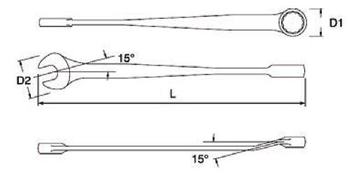 Schemat budowy klucza płasko-oczkowego z serii X-BEAM na www.cooltools.pl